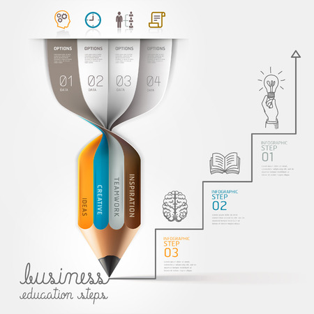 growth arrow: Business education pencil Infographics step option. Vector illustration. can be used for workflow layout, banner, diagram, number options, step up options, web design. Illustration