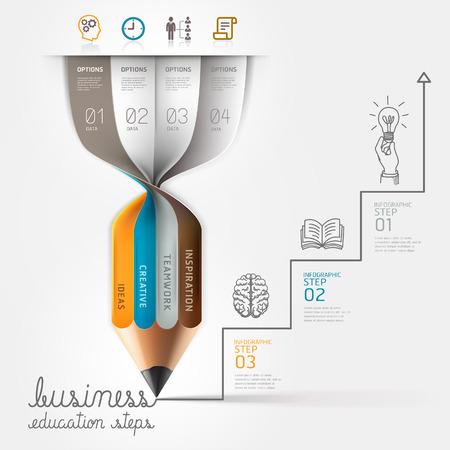 papírnictví: Podnikové vzdělávání tužka infografiky krokem volba. Vektorové ilustrace. může být použita pro rozvržení pracovního postupu, poutač, schéma, možnosti číslo, zvýšily možnosti, web design. Ilustrace