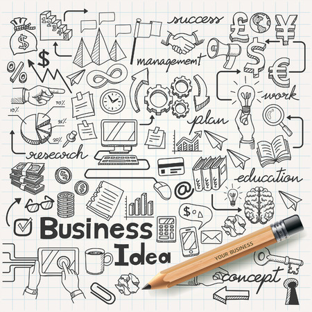 drawing arrow: Business Idea doodles icons set. Vector illustration.