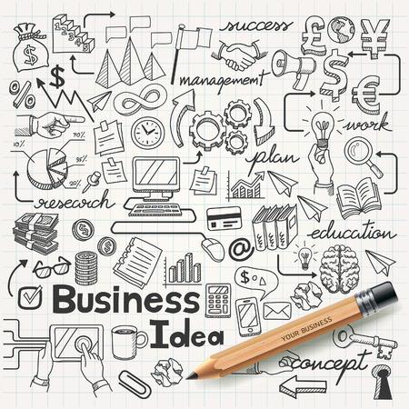 idea: Business Idea doodles icons set. Vector illustration.
