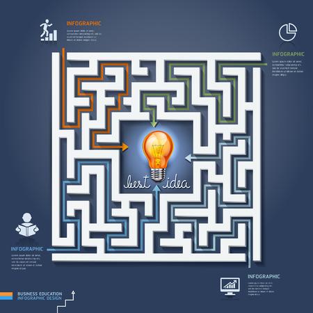 Labyrinth obchodní řešení. Vektorové ilustrace. lze použít pro uspořádání pracovního postupu, poutač, schéma, možnosti číslo, zintenzivnit možnosti, infografiky, web design.