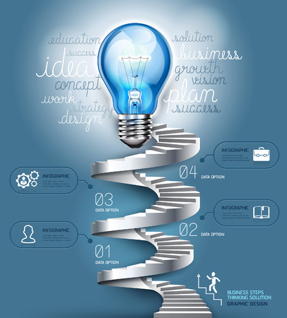 Business stair steps thinking solution Idea, lightbulb conceptual. Vector illustration. can be used for workflow layout, banner, diagram, number options, nfographics, web design.  Vector