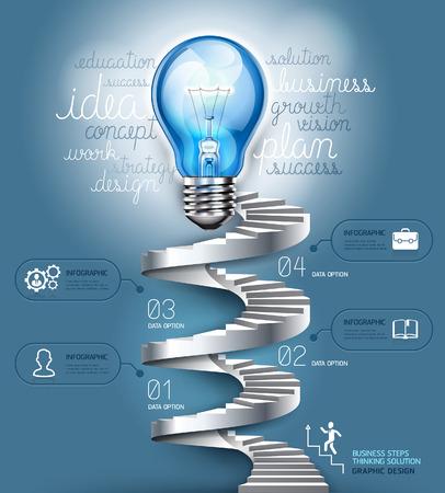 Business-Treppenstufen zu denken Lösung Idee, Glühbirne konzeptionellen. Vektor-Illustration. kann für die Workflow-Layout, Banner, Diagramm, Anzahl Optionen, nfographics, Web-Design verwendet werden.
