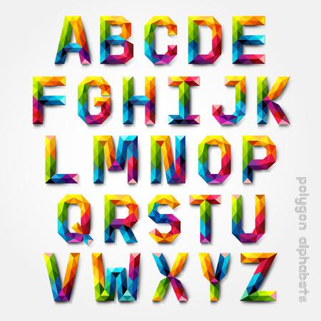 poligonos: Pol�gono alfabeto estilo de fuente colorido. Ilustraci�n del vector. Vectores
