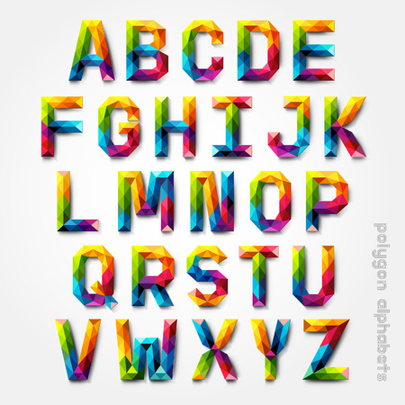 mosaic: Polygon alphabet colorful font style. Vector illustration.