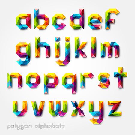 Polygon alfabet kleurrijke tekenstijl. Vector illustratie.
