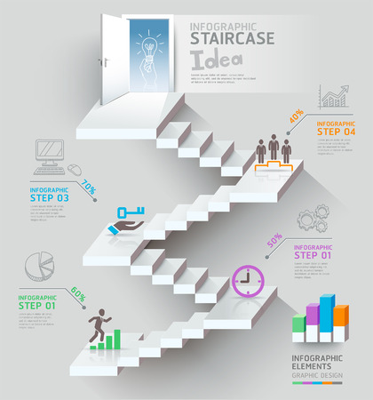 business hand: Business staircase thinking idea, Staircase doorway conceptual. Vector illustration.