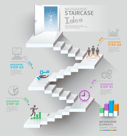 biznes: Myślenie pomysł biznes schody, schody, drzwi, koncepcyjnego. Ilustracji wektorowych.