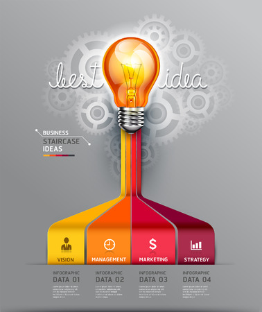 light bulb idea: Business staircase idea. Vector illustration. can be used for workflow layout, banner, diagram, number options, infographics, web design.