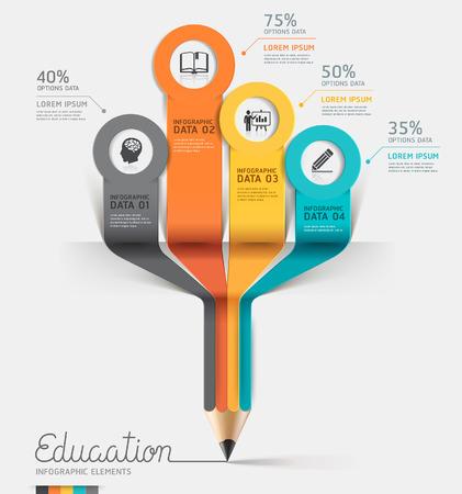 education: crayon de l'éducation option étape Infographies. Vector illustration.