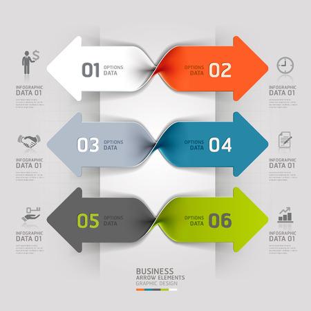 Modern arrow business spiral infographics option. Vector illustration.  向量圖像