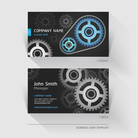 network card: Business card abstract gear background. Vector illustration.