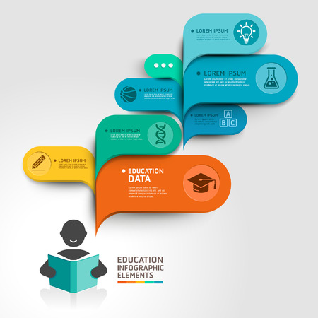 diagrama: Educación Infografía opción paso. Ilustración del vector. se puede utilizar para el diseño del flujo de trabajo, bandera, diagrama, opciones numéricas, intensificar opciones, diseño de páginas web.