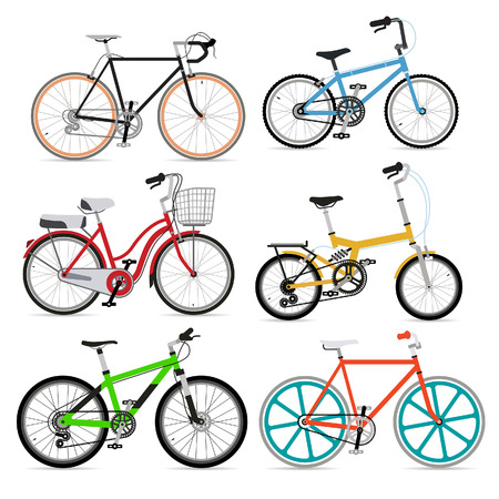 Fiets set. Vector Illustratie.