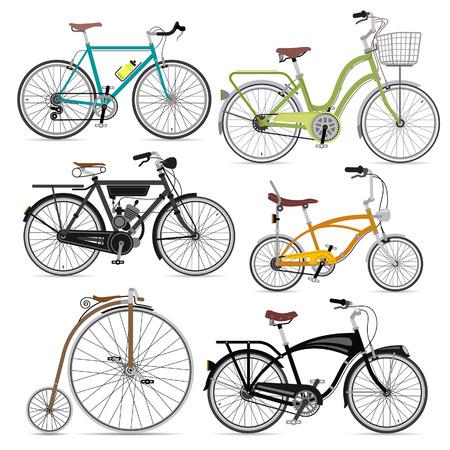 conjunto: Set de bicicletas. Ilustración vectorial.