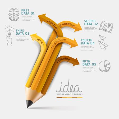 educacion: Opción paso Infografía lápiz Educación. Ilustración del vector. se puede utilizar para el diseño del flujo de trabajo, bandera, diagrama, opciones numéricas, intensificar opciones, diseño de páginas web. Vectores