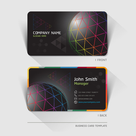 network card: Business card technology background. Vector illustration.