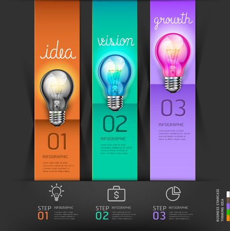 Business stair steps thinking solution Idea, lightbulb conceptual. Vector illustration. Vector