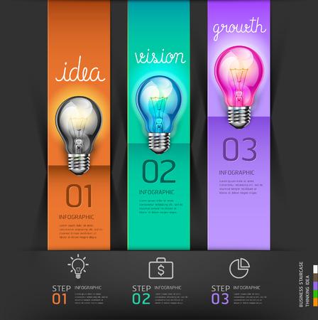 seminar: Business stair steps thinking solution Idea, lightbulb conceptual. Vector illustration.