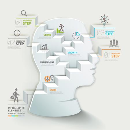 trabajo en equipo: Concepto de negocio plantilla de infografía. Paso cabeza pensante del hombre de negocios. Se puede utilizar para el diseño del flujo de trabajo, bandera, diagrama, diseño de páginas web. Vectores