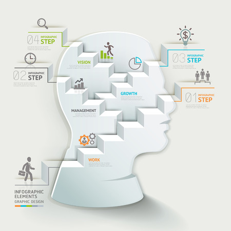schema: Concetto di business template infografica. Testa imprenditore pensando passo. Pu� essere utilizzato per il layout del flusso di lavoro, bandiera, diagramma, web design. Vettoriali