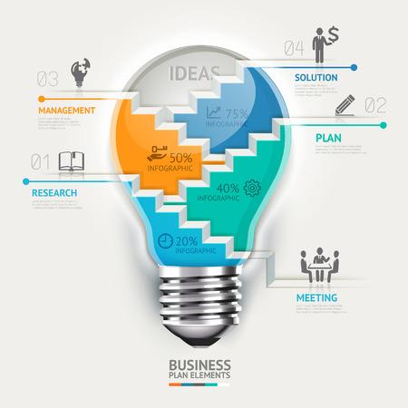 ビジネス コンセプト インフォ グラフィック テンプレート。電球の階段のアイデア。ワークフローのレイアウト、バナー、図、web デザインに使用で