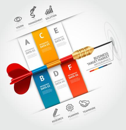 ビジネス コンセプト インフォ グラフィック テンプレート。ビジネス ターゲット マーケティング dart のアイデア。ワークフローのレイアウト、バ