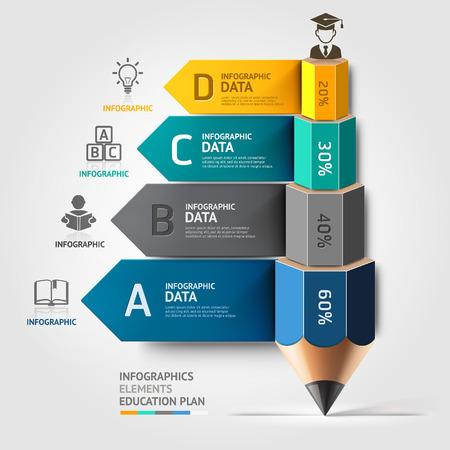조직: 비즈니스 교육 연필 계단 인포 그래픽 옵션을 선택합니다. 벡터 일러스트 레이 션. 워크 플로우 레이아웃, 배너, 도표, 수 옵션, 스텝 업 옵션, 웹 디자