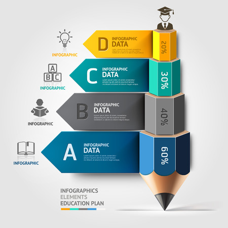Podnikového vzdělávání tužka schodiště možnost infografiky. Vektorové ilustrace. lze použít pro uspořádání pracovního postupu, poutač, schéma, možnosti číslo, zintenzivnit možnosti, web design. Ilustrace
