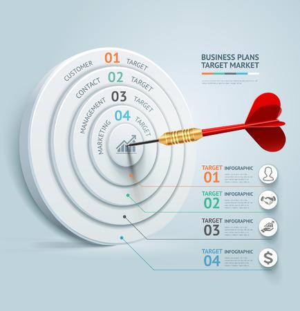 infografica: Concetto di business template infografica. Affari obiettivo di marketing idea dardo. Può essere utilizzato per il layout del flusso di lavoro, bandiera, diagramma, web design. Vettoriali
