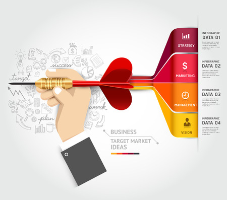Conceito de marketing de alvo de negócios. Mão de empresário com ícones de dardo e rabiscos. Pode ser usada para layout de fluxo de trabalho, banner, diagrama, design web, modelo infográfico.