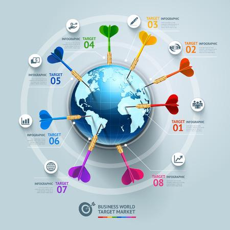 ビジネス コンセプト インフォ グラフィック テンプレート。ビジネス世界のターゲット マーケティングの dart アイデア。ワークフローのレイアウト