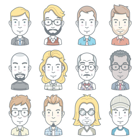 hair style set: Business people avatar icons illustration