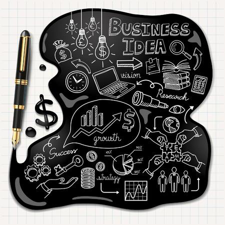 Business doodles icons set Ink concept illustration. Ilustração