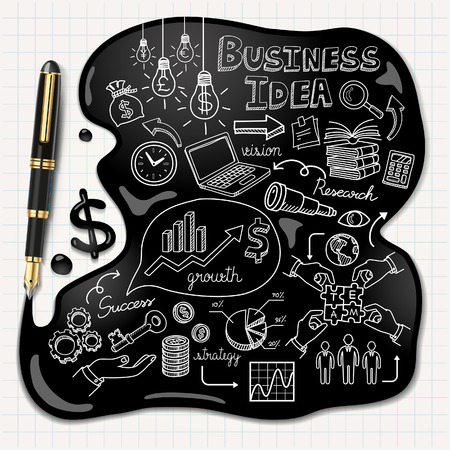 Business doodles icons set Ink concept illustration. Vector
