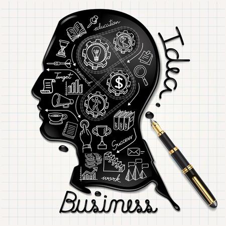 Business-Kritzeleien Symbole gesetzt. Ink förmigen Menschen den Kopf auf Papier. Vektor-Illustration. Illustration