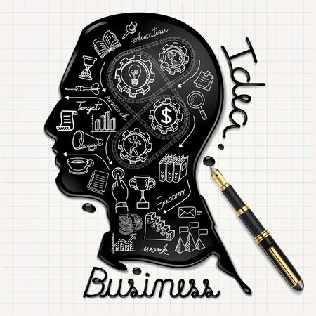 infografica: Icone di affari doodles set. Persone a forma di testa di inchiostro su carta. Illustrazione vettoriale.