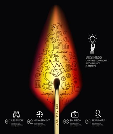 streichholz: Business-Konzept Infografik-Vorlage. Brennendes Streichholz und Kritzeleien Symbole gesetzt.