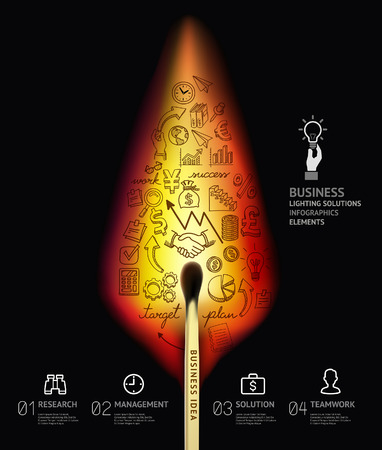 Business concept infographic template. Burning match and doodles icons set.