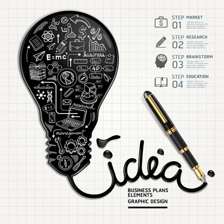 Business doodles icons set. Ink shaped light bulb on paper.  Vector