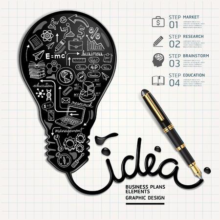 Business doodles icons set. Ink shaped light bulb on paper.