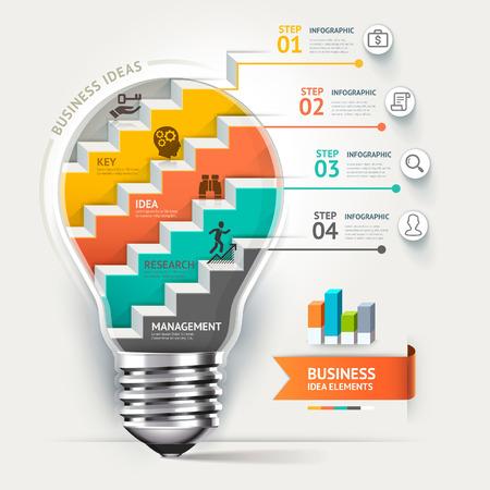 3d design element: Business concept infographic template. Lightbulb staircase idea.