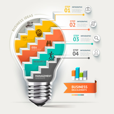 kavram ve fikirleri: Iş kavramı infografik şablonu. Ampul merdiven fikir.