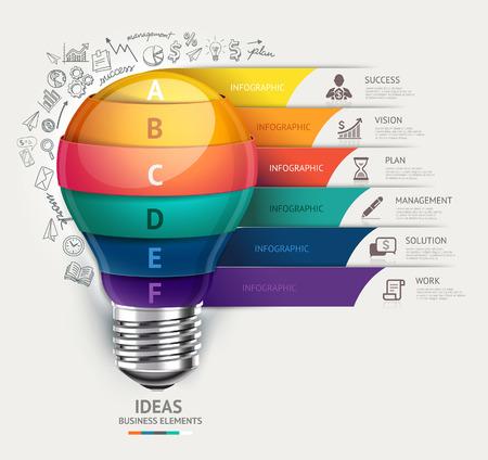 gestion: Concepto de negocio plantilla de infografía. Bombilla y doodles iconos conjunto. Vectores