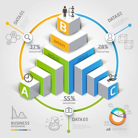 kavram ve fikirleri: 3d merdiven diyagram modern iş adım seçenekleri. Çizim