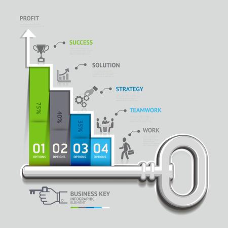 Geschäfts Schlüssel Treppe Konzept Infografik-Vorlage. Kann für Workflow-Layout, Banner, Diagramm, Web-Design verwendet werden.