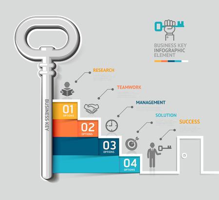 Obchodní klíč schodiště koncepce infographic šablony. Může být použit pro workflow uspořádání, poutač, schéma, web design. Ilustrace