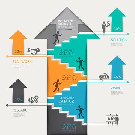 3D stap voor stap pijl omhoog trap diagram bedrijf. Stock Illustratie