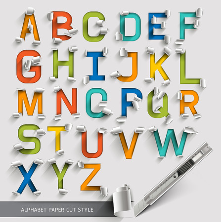 Alphabet paper cut colorful font style. Vector illustration. Çizim