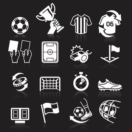 Soccer icons on black background. Vector illustration Illustration